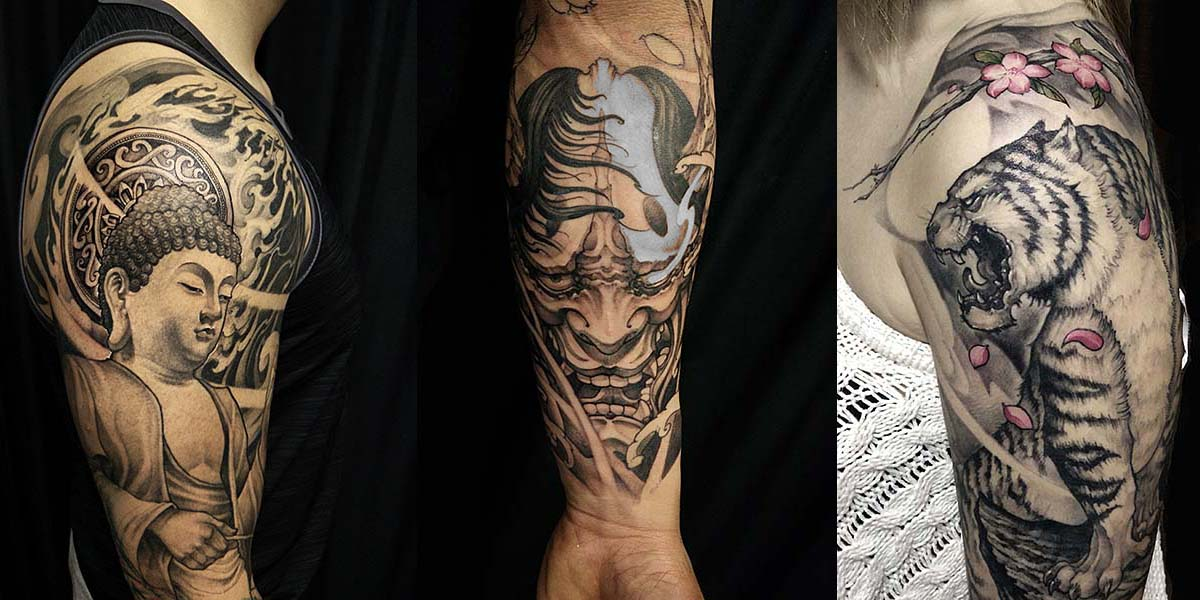 David Hoang: Asia-Tattoos in black & grey aus Toronto, Kanada